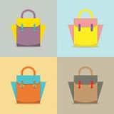 Set of Colorful Women Bag Royalty Free Stock Images
