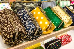 A set of colorful women`s bags close-up royalty free stock photos
