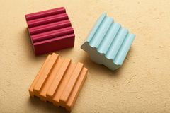 Set of colorful wooden building blocks stock images