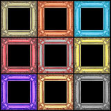 set of colorful wooden frames isolated on black Stock Photo