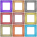 set of colorful wooden frames isolated on white Royalty Free Stock Photos