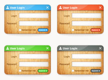 Set of colorful wooden login forms Royalty Free Stock Image
