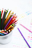 Set of colorful wooden pencils and color palette Stock Images