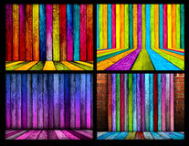 Set of Colorful Wooden Room Backgrounds stock illustration