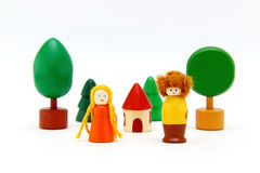 Set of colorful wooden toys isolated on white Royalty Free Stock Images