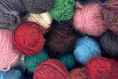 Set of colorful wool yarn balls. Hanks are set out in a pile Stock Photo