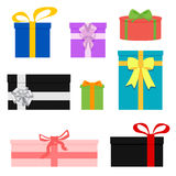 Set of colorful wrapped gift boxes. Lots  presents. Vector illustration. Isolated on white. Stock Images