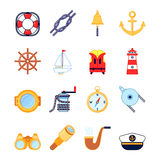 Set of colorful yachting icons. Sailing symbols Royalty Free Stock Photo