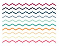 Set of colorful zigzag lines, borders, shapes. On white background vector illustration