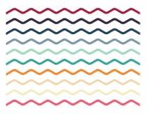 Set of colorful zigzag lines, borders, shapes. On white background royalty free illustration