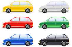 Set of colorfull isolated modern cars Royalty Free Stock Photography