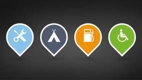 set colorfull mapy szpilki z ekstrymi ikonami lub pointery Wektorowe ilustracje odizolowywać na czarnym tle royalty ilustracja