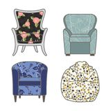 Set of colorfull and patterned vector armchairs Royalty Free Stock Photos