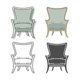 Set of colorfull and silhouette armchairs Royalty Free Stock Image