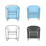 Set of colorfull and silhouette armchairs Royalty Free Stock Images