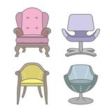 Set of colorfull vector armchairs Royalty Free Stock Images
