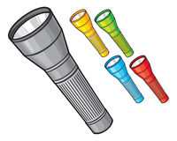 Set of colorfully flashlights Stock Images