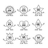 Set of coloring book elements Stock Photography