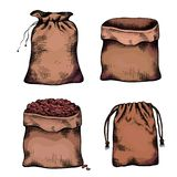 Set of coloring illustrations of hand drawn canvas bags. Objects separate from the background. Zero waste objects