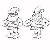 Set of coloring Santa Claus with a bag of gifts.  Stock Photos