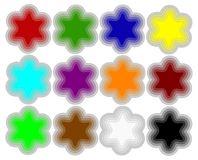 Set colors buttons. Illustrations shapes button white isolated Stock Images
