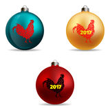 Set. Colors Christmas balls. New Year 2017 vector illustration Stock Photo