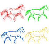 Set  colors horses outlines. vector collection Royalty Free Stock Images