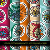 Set of 5 colors patterns with flowers and abstract decorative el Stock Image