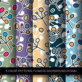 Set of 5 colors patterns with flowers and abstract decorative el Royalty Free Stock Images