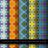 Set of 5 colors patterns with flowers and abstract. Royalty Free Stock Photography