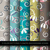 Set of 5 colors patterns with flowers. Royalty Free Stock Image