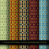 Set of 5 colors patterns with leaves and abstract decorative Stock Images