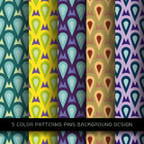Set of 5 colors patterns with pins and abstract decorative Stock Image