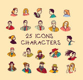 Set colors people icons characters. Stock Photos