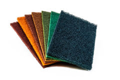 Set of 7 colors Scrubber Pads. Set of 7 Scrubber Pads photo on white background Royalty Free Stock Photo