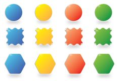 Set colors shapes. Blank colored shapes for your different uses with space for text, vector Royalty Free Stock Photos