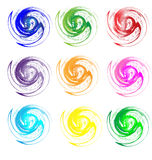 Set of colors swirly grunge Stock Photo