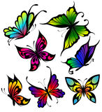 Set of colour butterflies of tattoos Stock Image