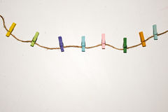 Set of colour clothespins. Royalty Free Stock Photo