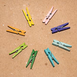 Set of colour clothespins. Colorful wooden clothespin. Background of colorful clothes pegs. Closeup of colorful clothespins Stock Images