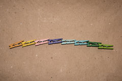 Set of colour clothespins. Colorful wooden clothespin. Background of colorful clothes pegs. Closeup of colorful clothespins Royalty Free Stock Images