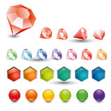 Set colour crystals, button, spherule Stock Photos