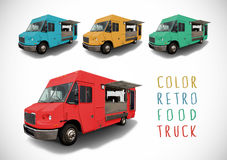 Set of colour food truck. Set of colour retro food trucks with cutting path Royalty Free Stock Images