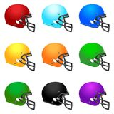 Set of colour footbal helmets Stock Image