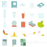 Set of colour garbage sign icons Stock Images