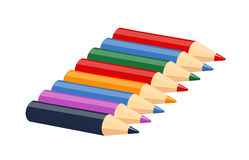 Set of colour pencils for drawing. Eps10  illustration.  on white background Stock Image