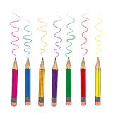 Set of colour pencils for drawing on white background. stock illustration