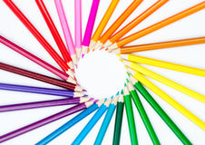 Set of colour pencils in shape of sun Stock Image