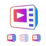 Set colour stylizował isometric nowożytne multimedii TV ikony, odizolowywać na bielu wektor royalty ilustracja