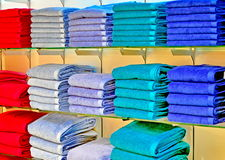 Set of colour towels in department store Royalty Free Stock Photography